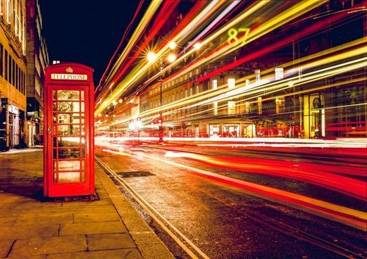 blur bus car central city dramatic exposure fast