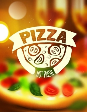 blurred pizza background vector