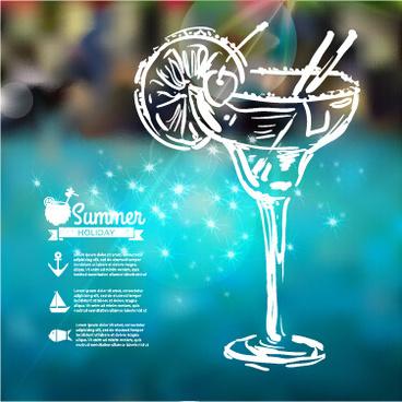 blurred summer elements background vector