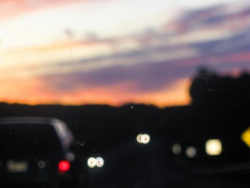 blurred sunset over highway
