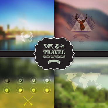 blurred travel elements background vector
