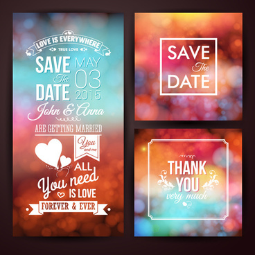 blurred wedding invitation cards vector elements