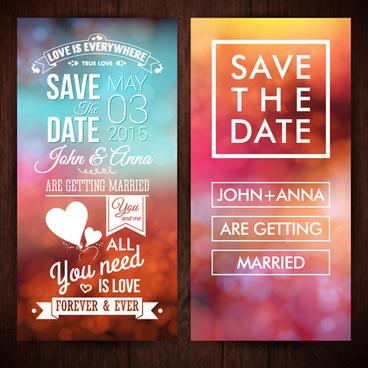 blurred wedding invitation cards vector elements