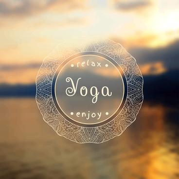 blurred yoga creative background vectors set