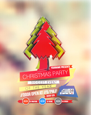 blurs15 christmas party flyer vector cover