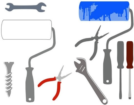 hand tool icons colored flat modern design