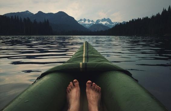 boat british columbia canoe forest lake landscape