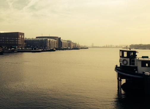 boat building city dock ripple river ship transport