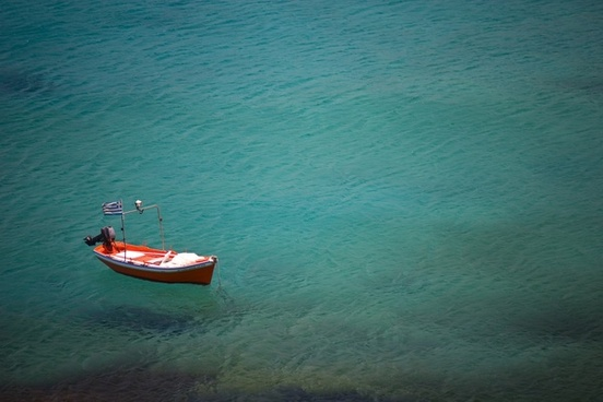 boat calm clear flag greece holiday ocean ripple