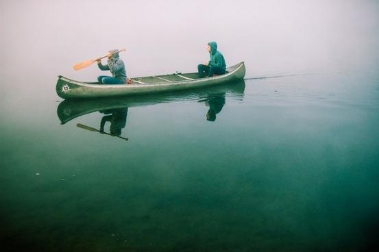 boat canoe hoodie lake paddle people pond
