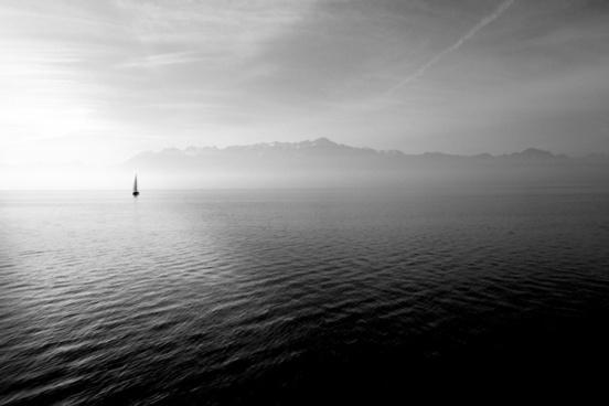 boat cloud fog mist mountain ocean ripple sail sea
