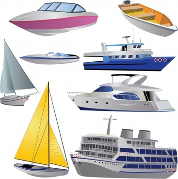 boat cruise icons modern 3d sketch