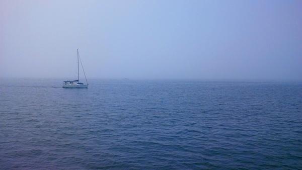 boat fog light morning nobody ocean outdoors peace