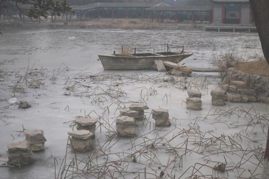 boat frozen in ice