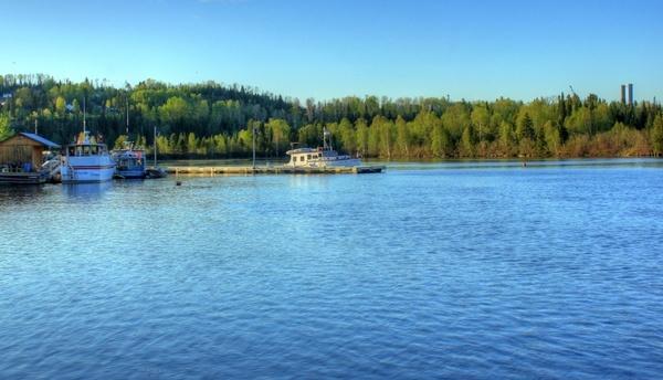 boat launch at lake nipigon ontario canada