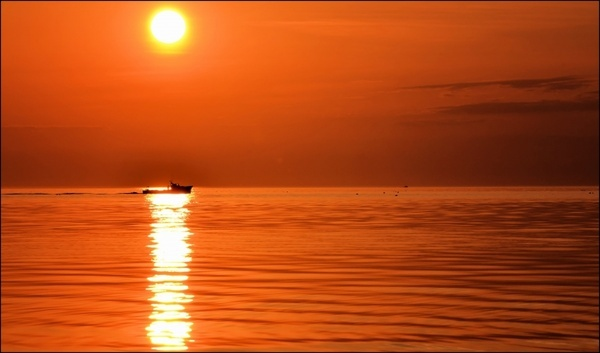 boat sun sunset