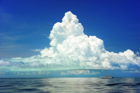 boat under clouds