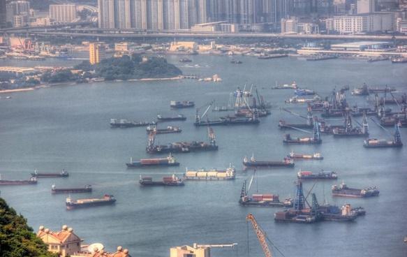 boats in the harbor in hong kong china