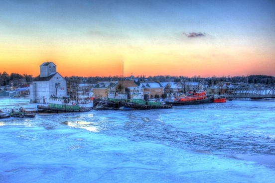 boats in the harbor in sturgeon bay wisconsin