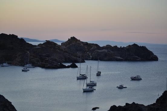 boats landscape sea