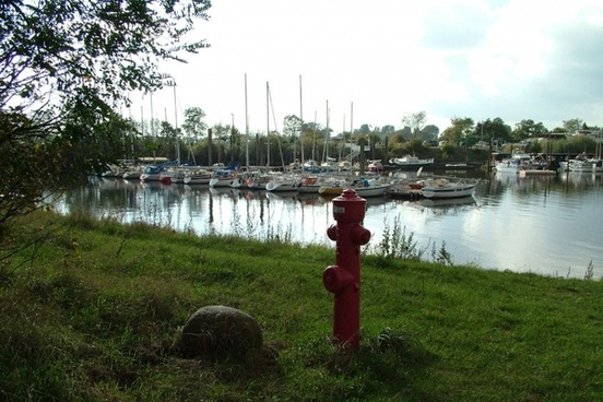 boats with red hydrant