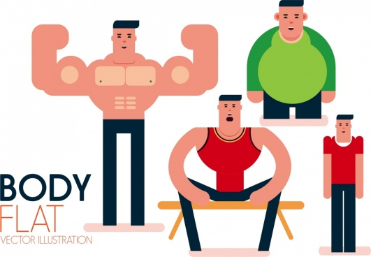 body building banner men physics icons cartoon characters
