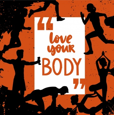 body building banner retro silhouette design