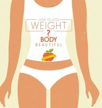 body fitness banner slim woman icon question decor