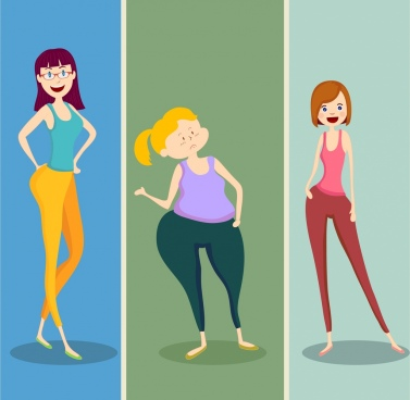 body fitness icons cartoon girl characters