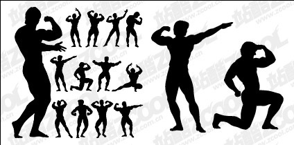 Bodybuilding action figure silhouette vector material