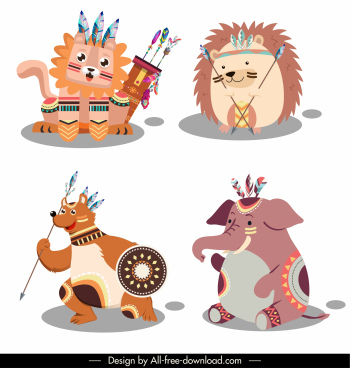 boho animal icons stylized cartoon characters