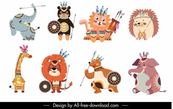 boho animals icons funny stylized cartoon characters