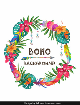 boho background colorful floral wreath arrow decor