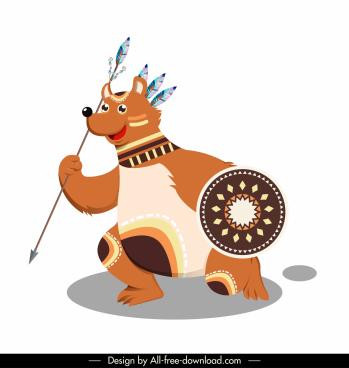 boho bear icon funny stylized cartoon sketch