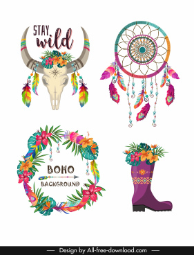 boho decorative icons colorful bull dream catcher flowers