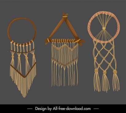 boho decorative templates retro knitting sketch