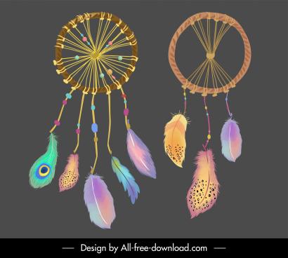 boho dream catcher templates colorful feathers decor