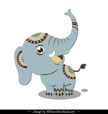 boho elephant icon cute cartoon character