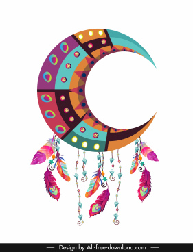 boho icon colorful classic crescent feathers decor
