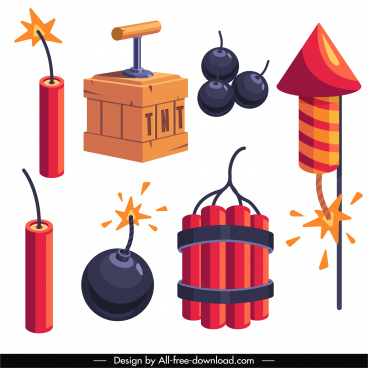 bomb weapon design elements classic explosive types sketch