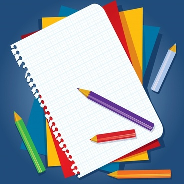 education background stationeries sketch modern colorful flat