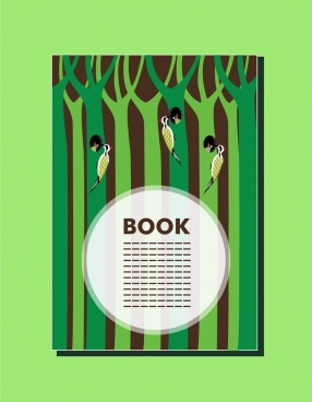 book cover design birds and trees decoration