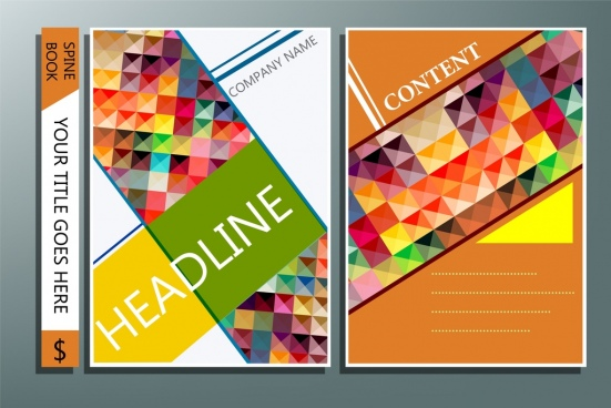 book cover template colorful polygonal decoration modern design