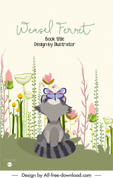 book cover template wild elements sketch cartoon design