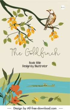book cover template wildlife elements sketch colorful classic
