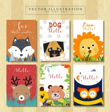 book cover templates cute animals icons decor