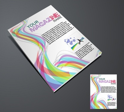 magazine cover template colorful dynamic curves decor