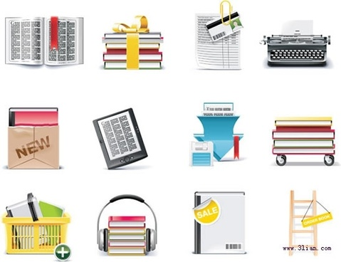 stationery icons shiny modern colored design