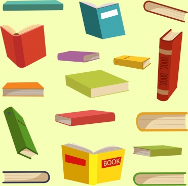 book icons collection multicolored 3d design