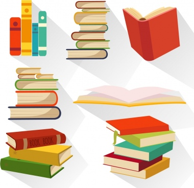 book icons collection various multicolored design